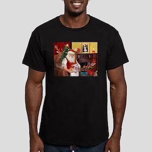 Santa's Pit Bull Men's Fitted T-Shirt (dark)