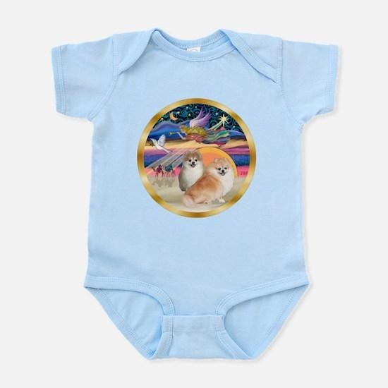 XmasStar/2 Pomeranians Infant Bodysuit