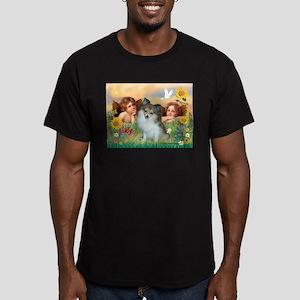 Angels/ Pomeranian(s&w) Men's Fitted T-Shirt (dark
