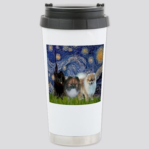 Starry/3 Pomeranians Stainless Steel Travel Mug