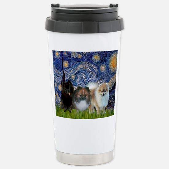 Starry/3 Pomeranians Stainless Steel Travel Mug