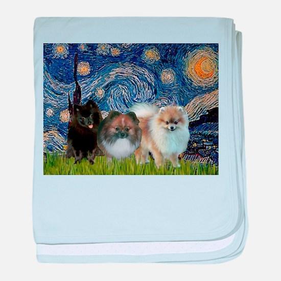 Starry/3 Pomeranians baby blanket