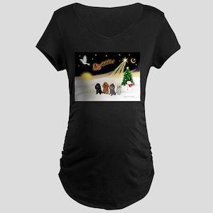 Night Flight/4 Poodles Maternity Dark T-Shirt
