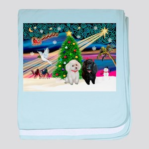Xmas Magic-2 Poodles (ST) baby blanket