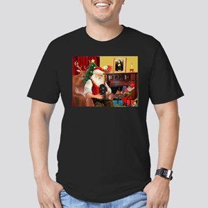 Santa Min Poodle (b) Men's Fitted T-Shirt (dark)
