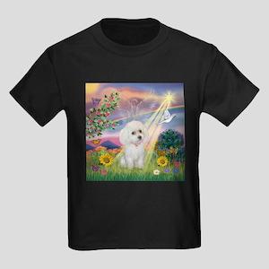 Cloud Angel & White Poodle Kids Dark T-Shirt