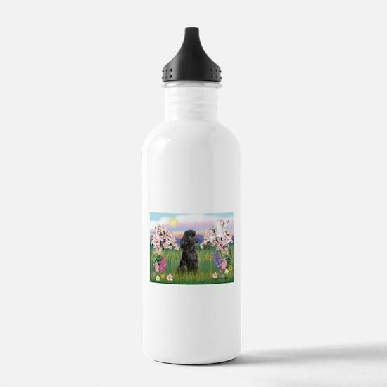 Blossoms/Poodle (miniature #2 Water Bottle