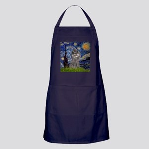Starry Night Silver Poodle Apron (dark)