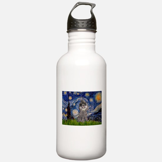 Starry Night Silver Poodle Water Bottle