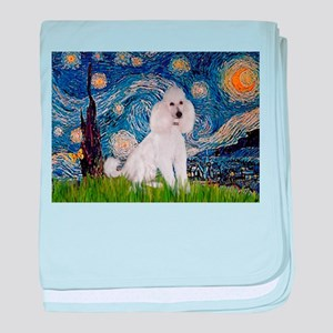 Starry Night White Poodle baby blanket