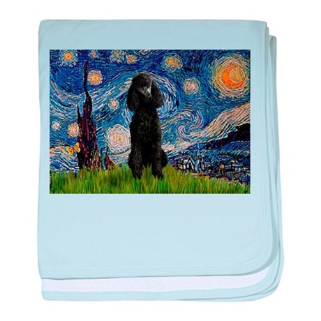 Starry Night Black Poodle (ST baby blanket
