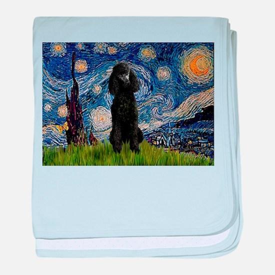 Starry Night Black Poodle (ST baby blanket