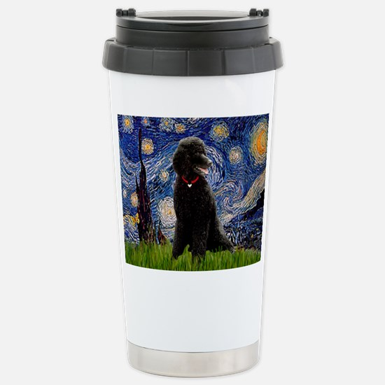 Starry Night Black Poodle Stainless Steel Travel M