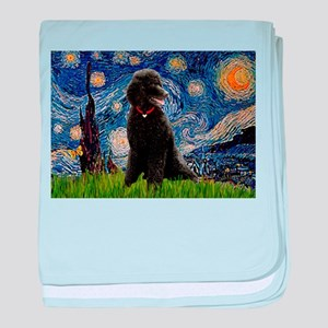 Starry Night Black Poodle baby blanket