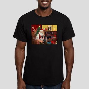 Santa's Two Pugs (P1) Men's Fitted T-Shirt (dark)