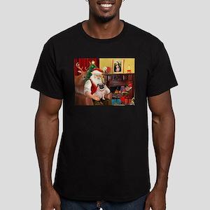 Santa's fawn Pug (#21) Men's Fitted T-Shirt (dark)