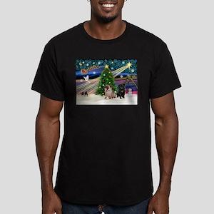 X Mas Magic & Pug Pair Men's Fitted T-Shirt (dark)