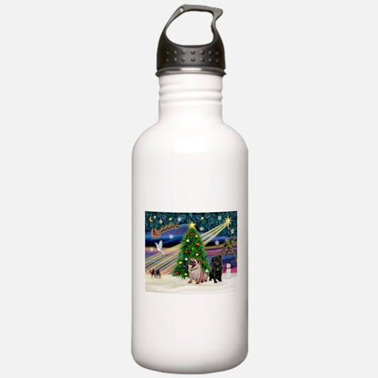X Mas Magic & Pug Pair Water Bottle