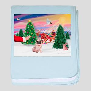 Santa's Treat/Pug (#2F) baby blanket