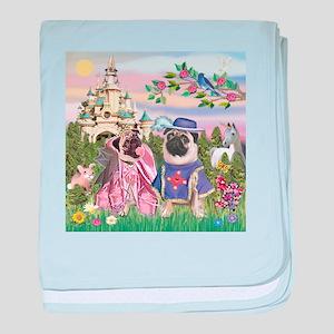 Sir Pug & Princess baby blanket