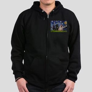 Starry Night & Pug Pair Zip Hoodie (dark)