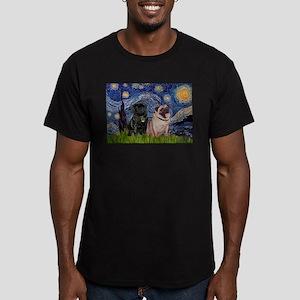 Starry Night & Pug Pair Men's Fitted T-Shirt (dark