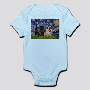 Starry Night & Pug Pair Infant Bodysuit