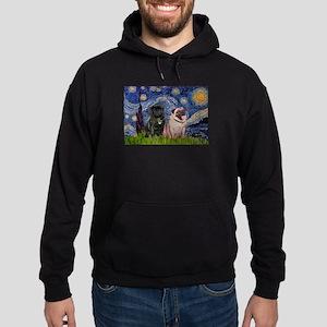 Starry Night & Pug Pair Hoodie (dark)