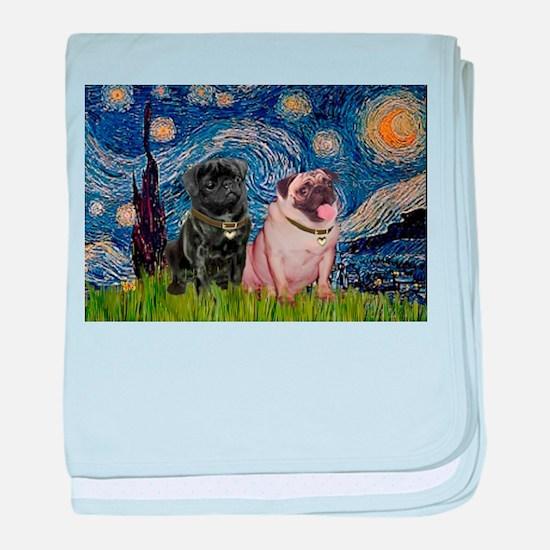 Starry Night & Pug Pair baby blanket