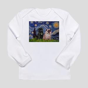 Starry Night & Pug Pair Long Sleeve Infant T-Shirt