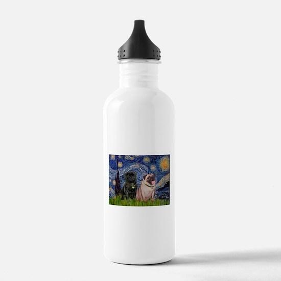 Starry Night & Pug Pair Water Bottle