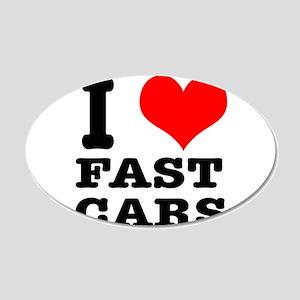 I Heart (Love) Fast Cars 22x14 Oval Wall Peel