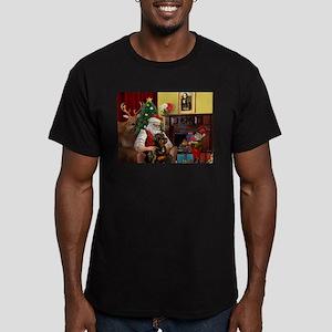 Santa's Rottweiler Men's Fitted T-Shirt (dark)