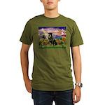 Autumn Angel & Rottie Organic Men's T-Shirt (dark)