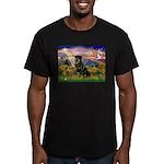 Autumn Angel & Rottie Men's Fitted T-Shirt (dark)