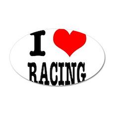 I Heart (Love) Racing 22x14 Oval Wall Peel