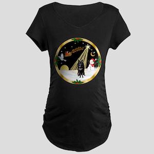 Night Flight/Schipperke Maternity Dark T-Shirt