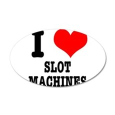 I Heart (Love) Slot Machines 22x14 Oval Wall Peel