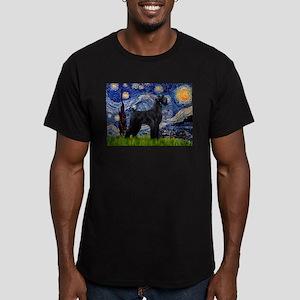 Starry Night Schnauzer Men's Fitted T-Shirt (dark)