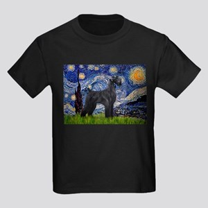 Starry Night Schnauzer Kids Dark T-Shirt