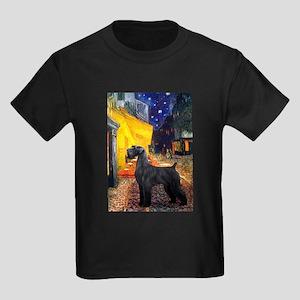 Cafe & Giant Schnauzer Kids Dark T-Shirt