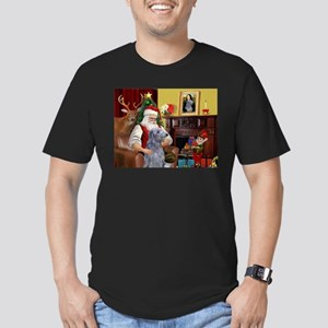 Santa's Deerhound Men's Fitted T-Shirt (dark)
