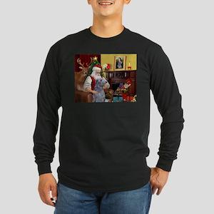 Santa's Deerhound Long Sleeve Dark T-Shirt