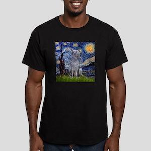 Starry Night Deerhound Men's Fitted T-Shirt (dark)