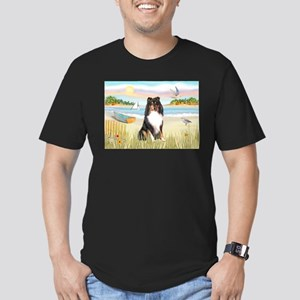 Rowboat / Sheltie (t) Men's Fitted T-Shirt (dark)