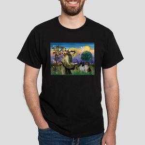 Saint Francis Sheltie Pair Dark T-Shirt