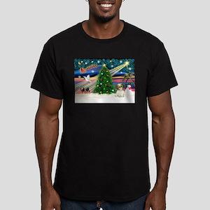 XmasMagic/Shih Tzu pup Men's Fitted T-Shirt (dark)
