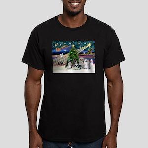 Xmas Magic / 5 Shih Tzus Men's Fitted T-Shirt (dar