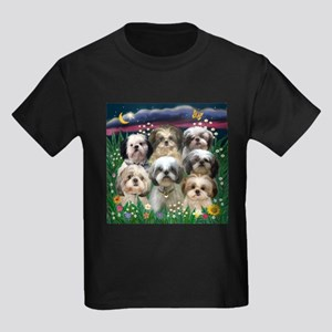 7 Shih Tzus in Moonlight Kids Dark T-Shirt