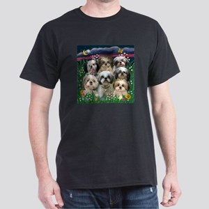 7 Shih Tzus in Moonlight Dark T-Shirt